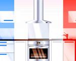cuisinière bleu-blanc-rouge