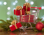cadeaux dans un chariot de supermarché